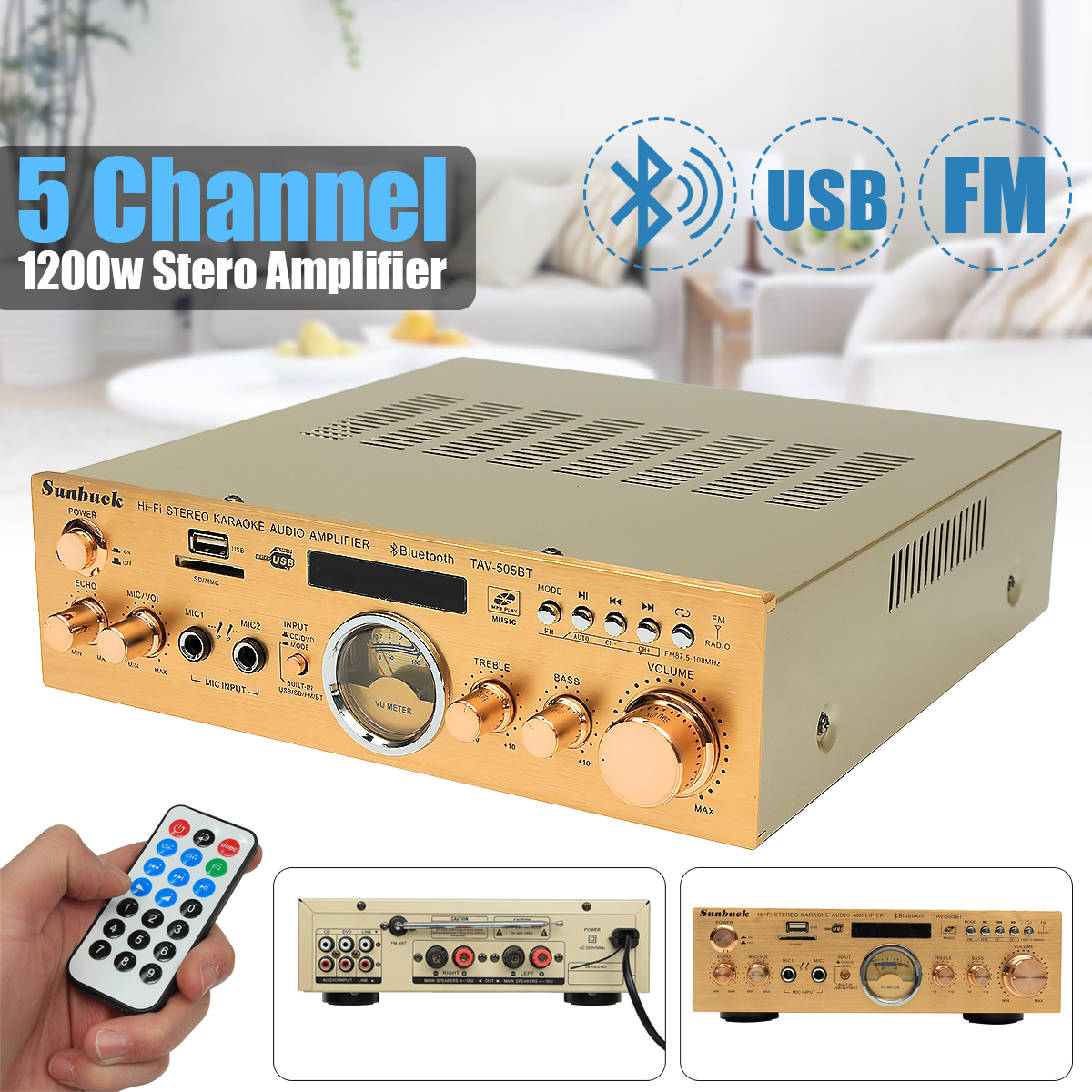 220V-240V 505BT 1200W 5 Channel Stereo Amplifier Bluetooth Sound Mode Audio Music Booster for Car Home цена