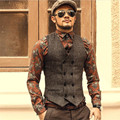 Fashion High Quality New Men Vest Mens Casual Suit V-Necked Slim Fit Vests Khaki And Gray Color Men Clothing Hot  A2804