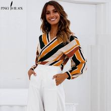 PinkyIsBlack Contrast Stripe Bow Tie Spliced Blouse 2018 Spring Summer V Neck Long Sleeve Top Multicolor Asymmetrical Blouses