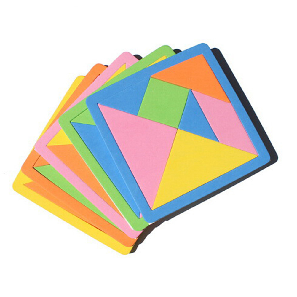 1Set EVA Tangram Jigsaw DIY Foam Puzzle Geometric Shape Kids Early Learning Educational Brain Training Toys Rainbow Color