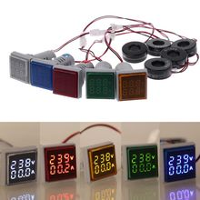 Square LED Digital Dual Display Voltmeter & Ammeter Voltage Gauge Current Meter AC 60-500V 0-100A 0 28 led dual display digital current voltmeter shunt black 50a 75mv