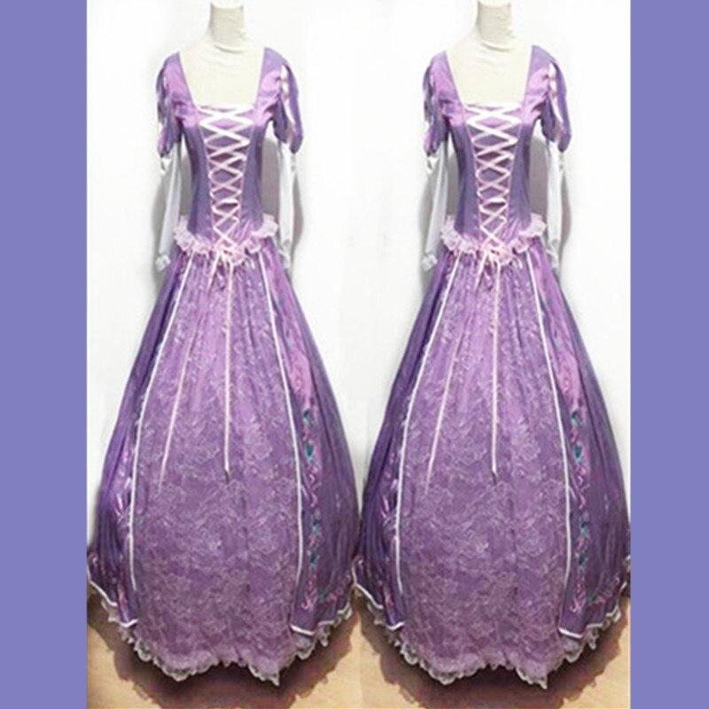 Livraison gratuite princesse raiponce Halloween sexy Costumes femmes adulte violet Costume fantaisie carnaval robe Cosplay pour femmes fille