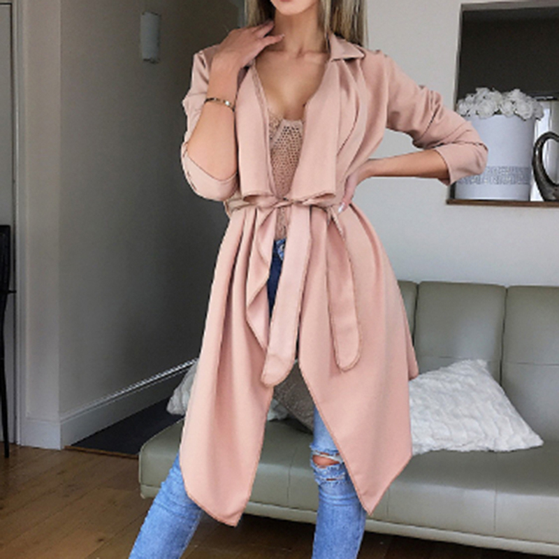 Bigsweety Women   Trench   Coat Autumn Cardigan Irregular Windbreaker Fashion Long Coats Outwear With Belt 2018 New