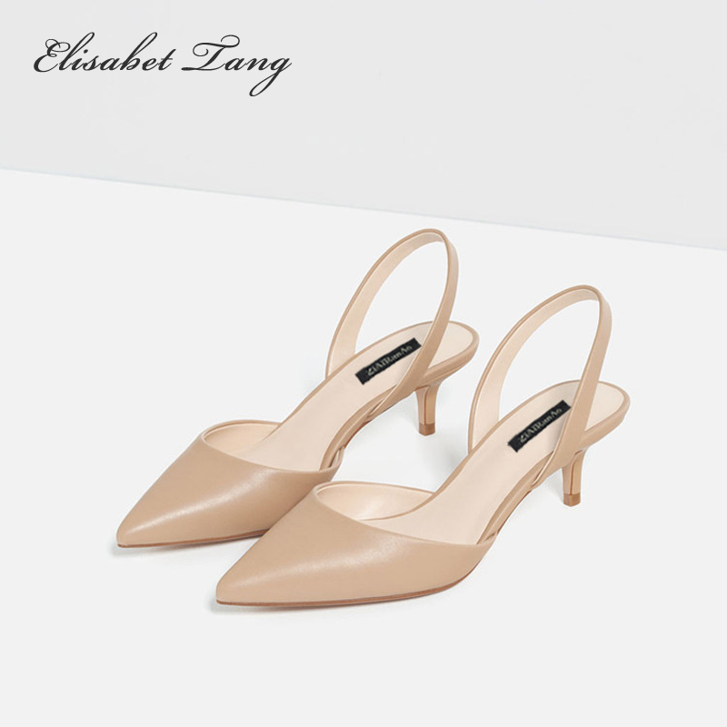 ФОТО Fashion Color Pointed Toe Slingbacks Women Pumps Ladies Casual Mid Height 5cm High Heels Shoes Elegant Female Nude White Pumps