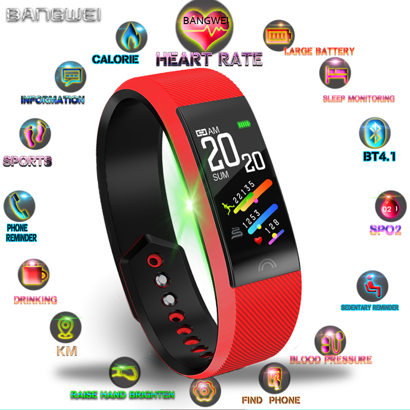 BANGWEI Women Fitness Waterproof Smart Bracelet Heart Rate Monitor Pedometer Bluetooth Connection Wristband Sport Watch