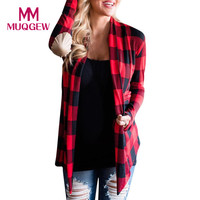 MUQGEW Hot Product Women Grid Plaid Open Cape Casual Coat Loose Blouse Kimono Jacket Cardigan Winter