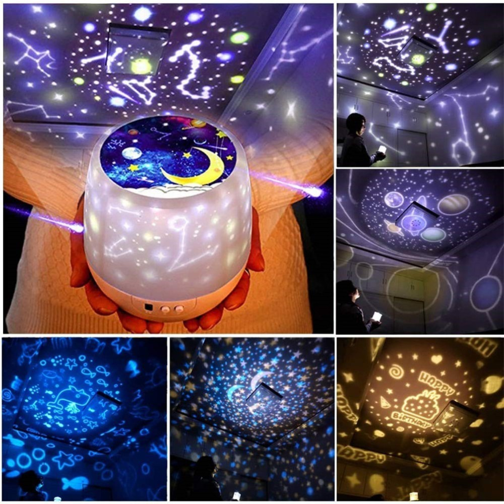 Night Light Projector Star Moon Sky Rotating Battery Operated Bedside Lamp For Children Kids Baby Bedroom Nursery 5 Sets Of Film