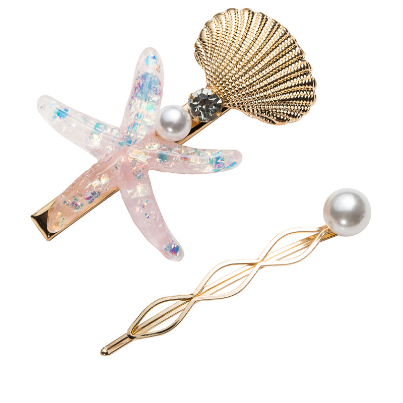 Starfish Hairpins Barrettes Pearl Women for Simulated Conch 2pcs/Set