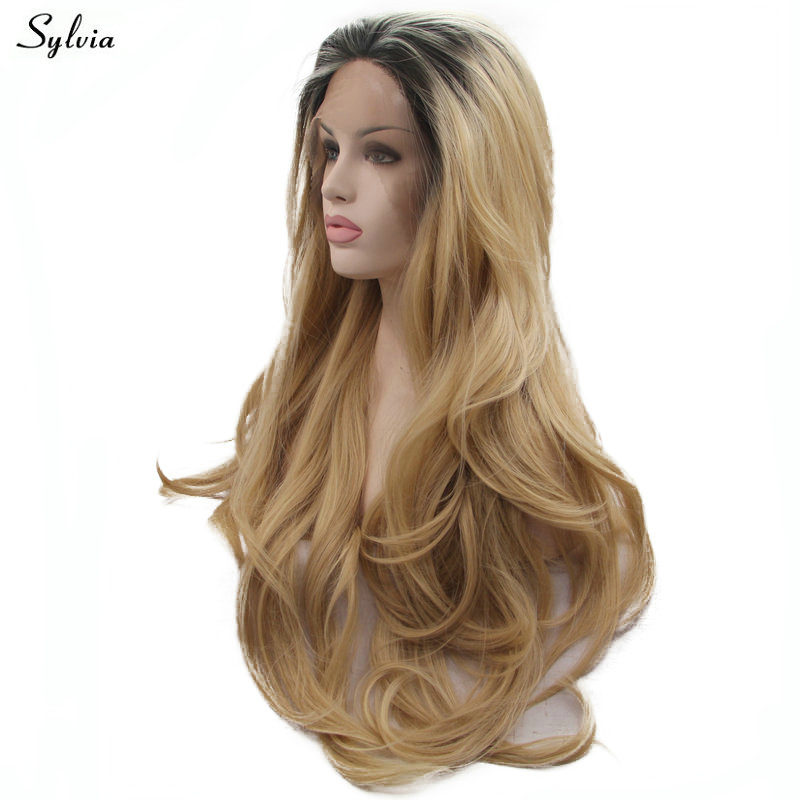 Sylvia Dark Roots Ombre Blonde Two Tone Soft Long Hair Handmade Synthetic Lace Front Wigs For Women Girls Body Wave Cosplay Wigs