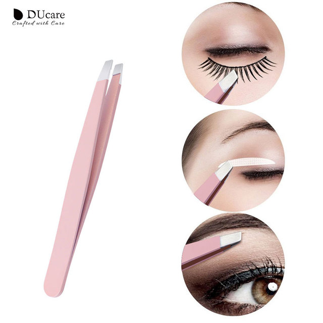 DUcare 3 PCS Eyebrow Tweezers Set Stainless Steel Flat Tip/Slant Tip/Point Tip Hair Removal Eye Tweezers with Pink Bag 1