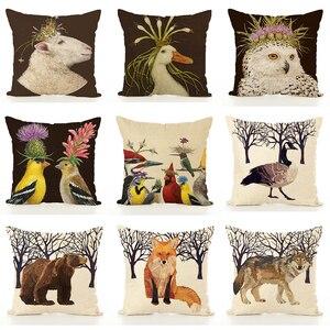 Image 1 - Housse de coussin nordique en lin imprimé animaux, taie doreiller, pour Thanksgiving, pour canapé, voiture, décoration de salon