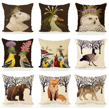 Nordic Cushion Cover Animal Printed Linen Hug Pillowcase Thanksgiving Couch Car Waist Sofa Cushion Cover Living Room Decoration