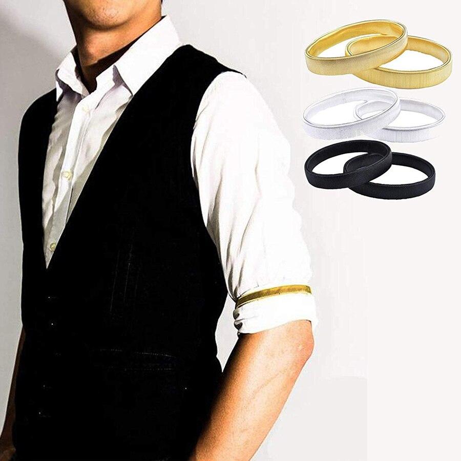 Suporte unissex para camisa, peça de metal antideslizante e elástica, acessórios para braçadeira e camisa (não par))