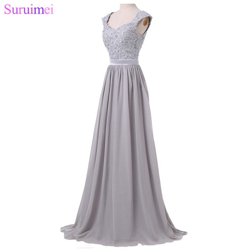 Robes De demoiselle d'honneur longues violet clair longueur De plancher dentelle broderie Applique argent gris bleu Royal robe De mariage événement robe - 4