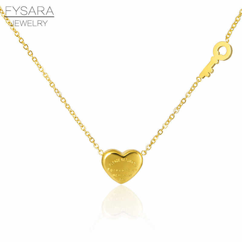 FYSARA Couple Forever Love Letter Short Necklace For Women Heart Key Pendant Necklace Stainless Steel Statement Clavicles Collar