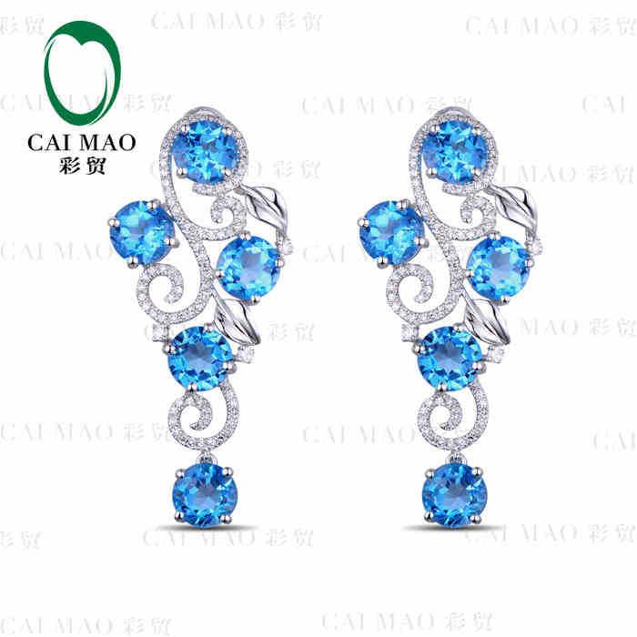 CaiMao 18KT/750 White Gold 10.08 ct Natural Blue Topaz & 0.80 ct Full Cut Diamond Engagement Gemstone Earrings JewelryCaiMao 18KT/750 White Gold 10.08 ct Natural Blue Topaz & 0.80 ct Full Cut Diamond Engagement Gemstone Earrings Jewelry