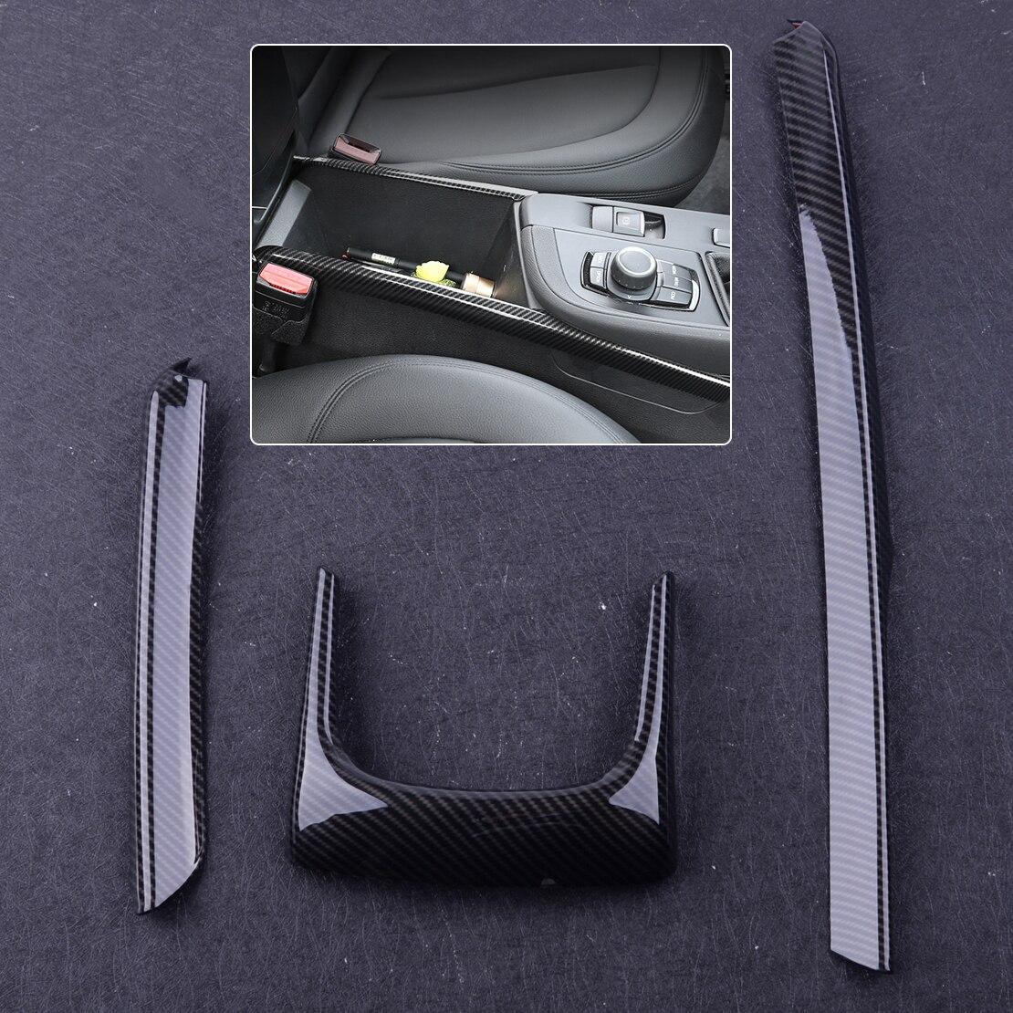 Beler Black Plastic Carbon Fiber ABS Car Interior Armrest Box Decoration Frame Strip Trim Fit For BMW X1 F48 2016 2017 2018