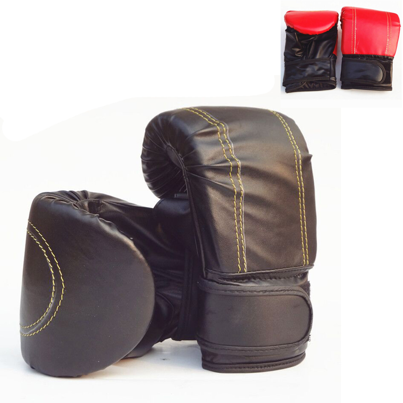 1 paar Halb Mitts Handschuh <font><b>MMA</b></font> <font><b>Muay</b></font> Thai Trainings Stanzen Sparring PU Leder Boxing Handschuhe Für Männlichen Schwarz Rot image