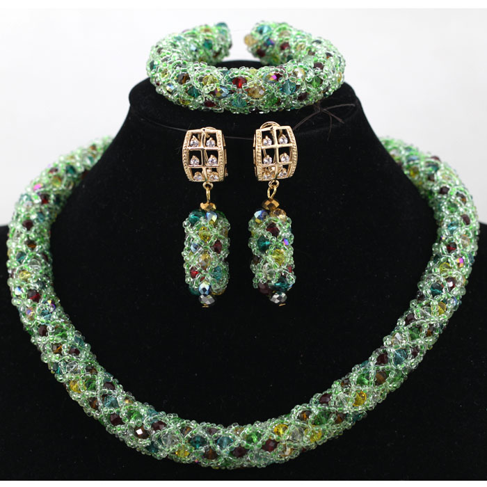 Handmade 2017 Latest Green Fashionable African Beads Jewelry Set ...