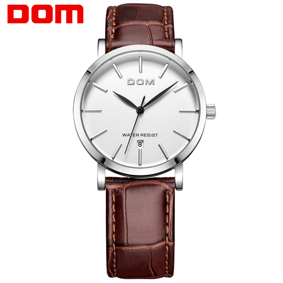 Brand Luxury Men's Watch Date Day Genuine Leather Strap Sport Watches Male Casual Quartz Watch Men Wristwatch Famous DOM Clock mens watch top luxury brand fashion hollow clock male casual sport wristwatch men pirate skull style quartz watch reloj homber