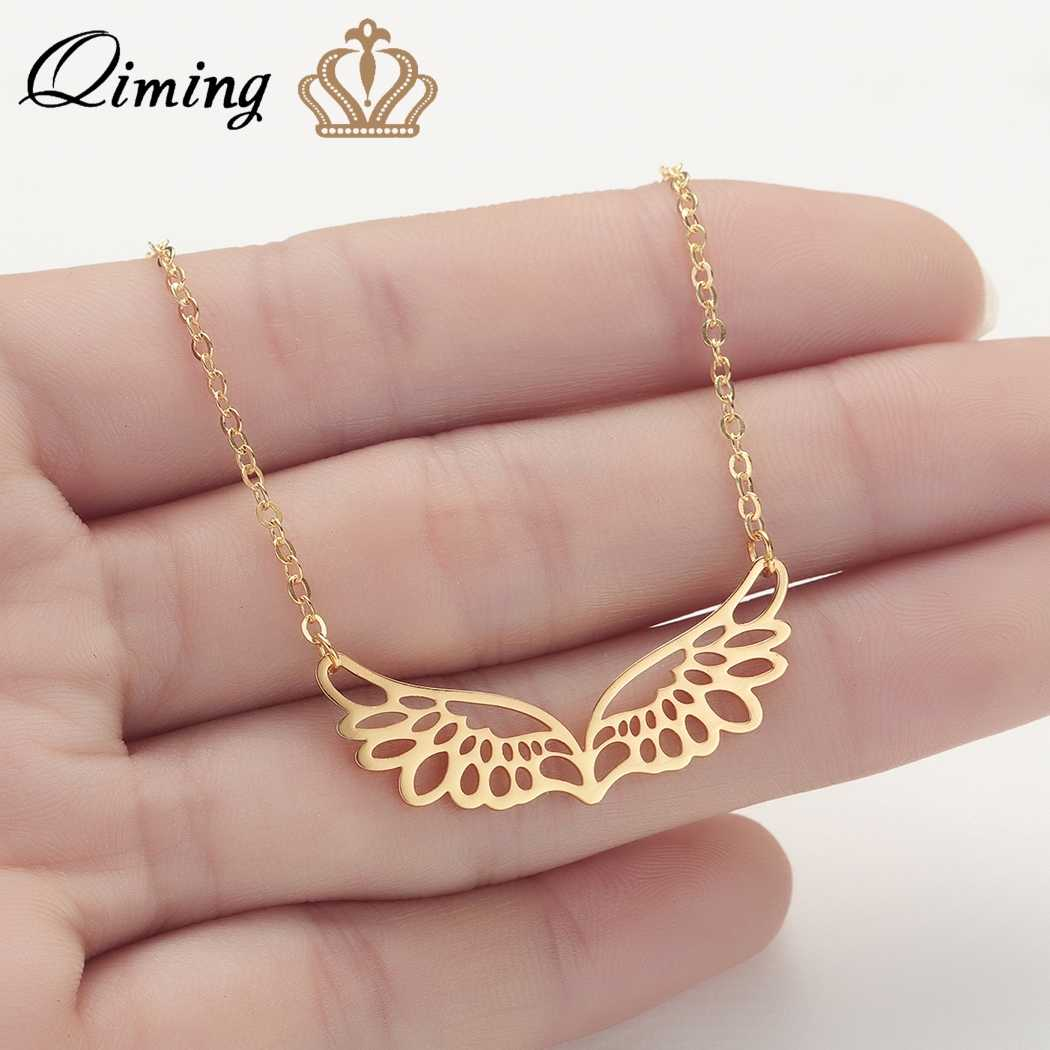 QIMING Angel Wings Necklace For Women Hollow Style Double Wings Guardian Gold Silver Jewelry Accessories Chain Necklaces