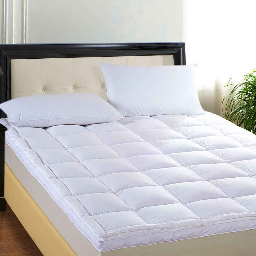 Peter Khanun Hot Sales Brand Design White Duck Down Goose Feather Filler Bed Mat 100% Cotton 233TC Double Layers Mattress 016