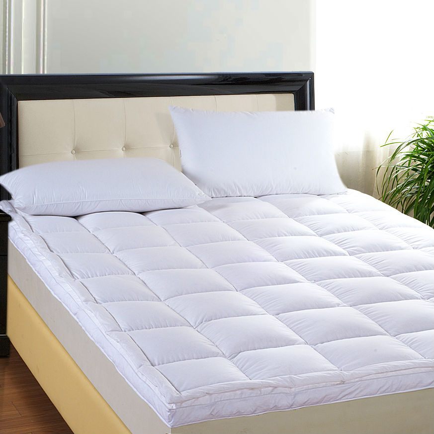 Peter Khanun Hot Sales Brand Design White Duck Down Goose Feather Filler Bed Mat 100% Cotton 233TC Double Layers Mattress 016