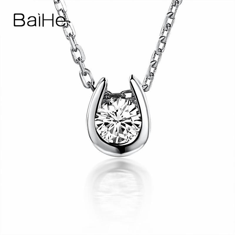 dae7a004c9494b BAIHE Solid 14 k Yellow Gold (AU585) Kobiety elegancka biżuteria Diamenty Naszyjnik  Wisiorek