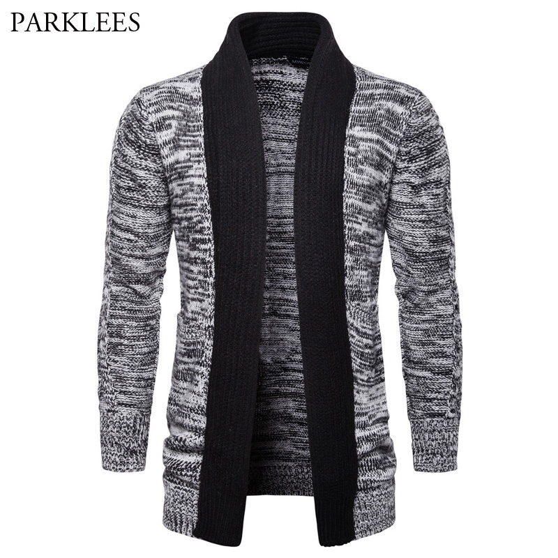 US $34.49 50% OFF Men's Shawl Collar Cardigan Sweater 2018 Casual Contrast Color Knitted Cardigans Sweaters Autumn Winter Male Thick Pull Homme   