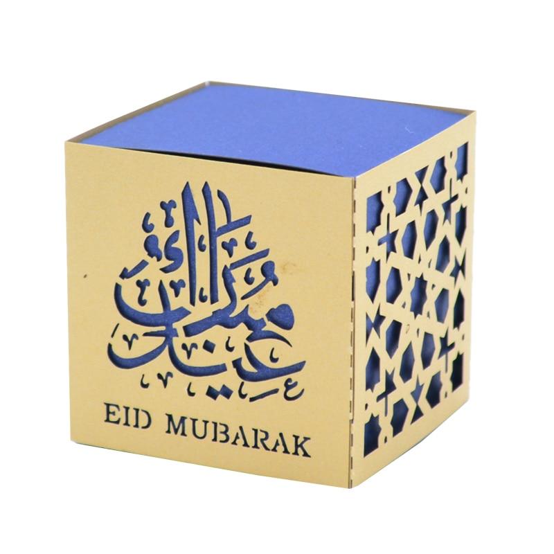 100pcs Happy Eid Mubarak Paper Gift Box Ramadan Decorations Islamic Party 2019 Greeting Cards Party Supply Home Garden