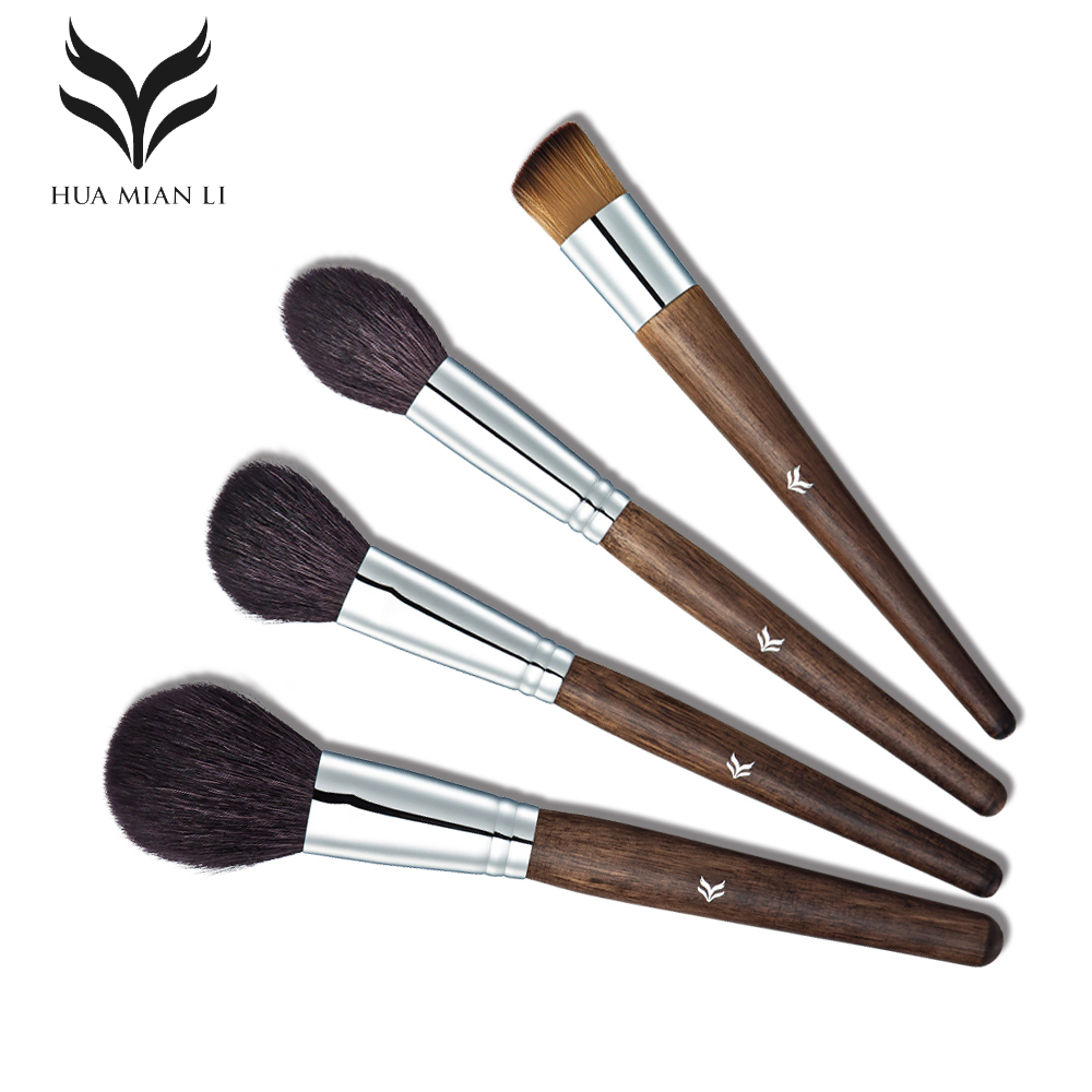 HUAMIANLI Makeup Brushes Set Professional High Quality With Case 4 Pcs Goat Hair Wood Handle Brown Beauty Make Up Women Femme handmade new solid maple wood brown acoustic violin violino 4 4 electric violin case bow included