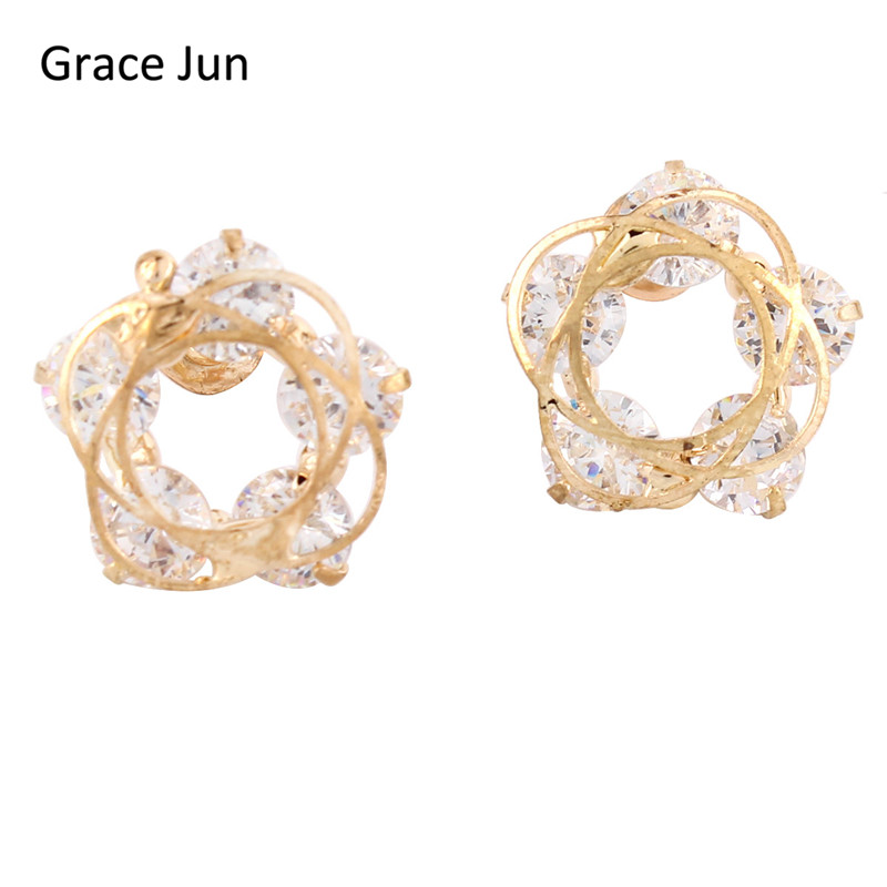 New Arrival Transparent Color Crystal Stud Earrings for Girls Fashion Accessories Good G ...