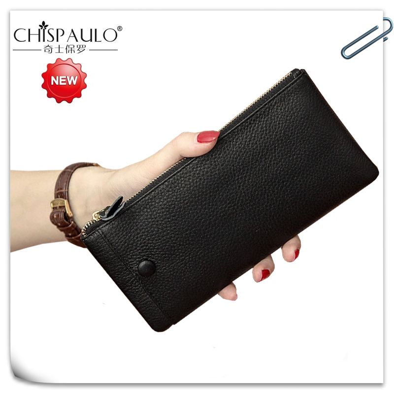 все цены на Wallet Women Luxury Brand Genuine Leather Zipper Clutch Long Purse Leather Lady Cell Phone Pocket Card Holder Travel Desigue Bag онлайн