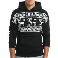 QINGYU Brand 2017 Hoodie Deer Printing Hoodies Men Fashion Tracksuit Male Sweatshirt Off White Hoody Mens