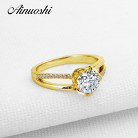 AINUOSHI 10k Yellow Gold Wedding Ring 1 Carat Round Cut Simulated Diamond Fine Jewelry Engagement ncsd Flower Shape Women Rings