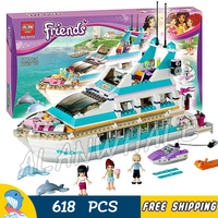 618psc Friends Girls Large Luxury Dolphin Cruiser Ship 10172 Model Building Block Passenger Liner Toy Brick Compatible with Lego