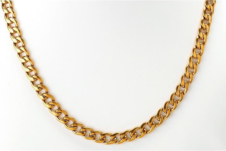 Mens Chain( 8mm 60CM 52g )Heavy 316L Stainless Steel Chain Double Curb Link Rombo Boys Gold Necklace Wholesale