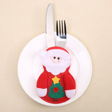 1pc/set Christmas Cutlery Pocket Fork Knife Decoration Table Pouch Lovely Santa Claus Snowman Dinner Kitchen Tableware Holder