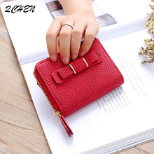 Women Wallets PU Leather Small Mini wallet bow Credit Card ID Holder with Key Ring Ladies Coin Purse Clutch Bags Handbag 289