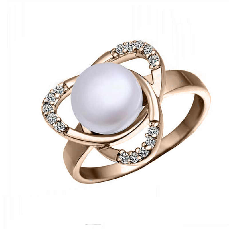 High-end jewelry crystal flower shape simulated pearl rings prom 1437