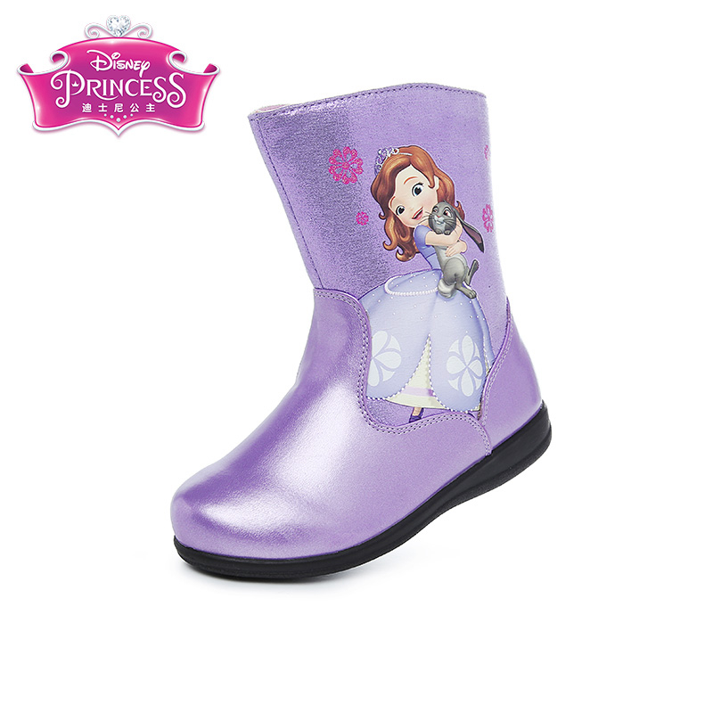 Disney Princess Sofia Girl Winter Snow Boots Pu Leather Waterproof Boots TPR Sole Shoe Zip Boots 3Color Size 26-33 DF0192 сумка 205109 sofia для девочек в коробке тм disney 1165748