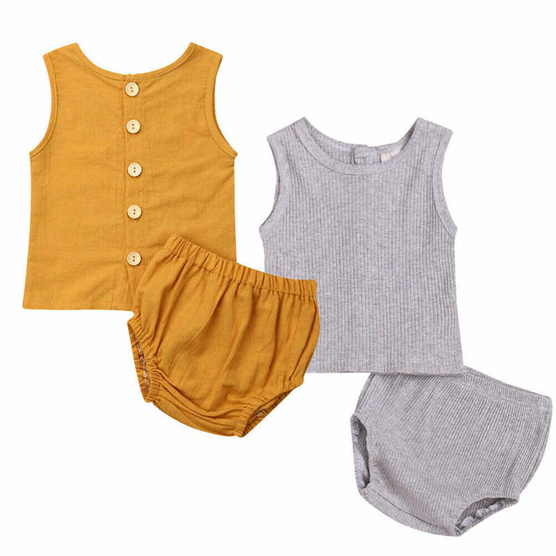Summer Berif Infant Baby Boys Girls Clothes Sets Solid Cotton 2Pcs Sleeveless Button Tank Tops+Shorts Unisex Baby Outfits 3-24M