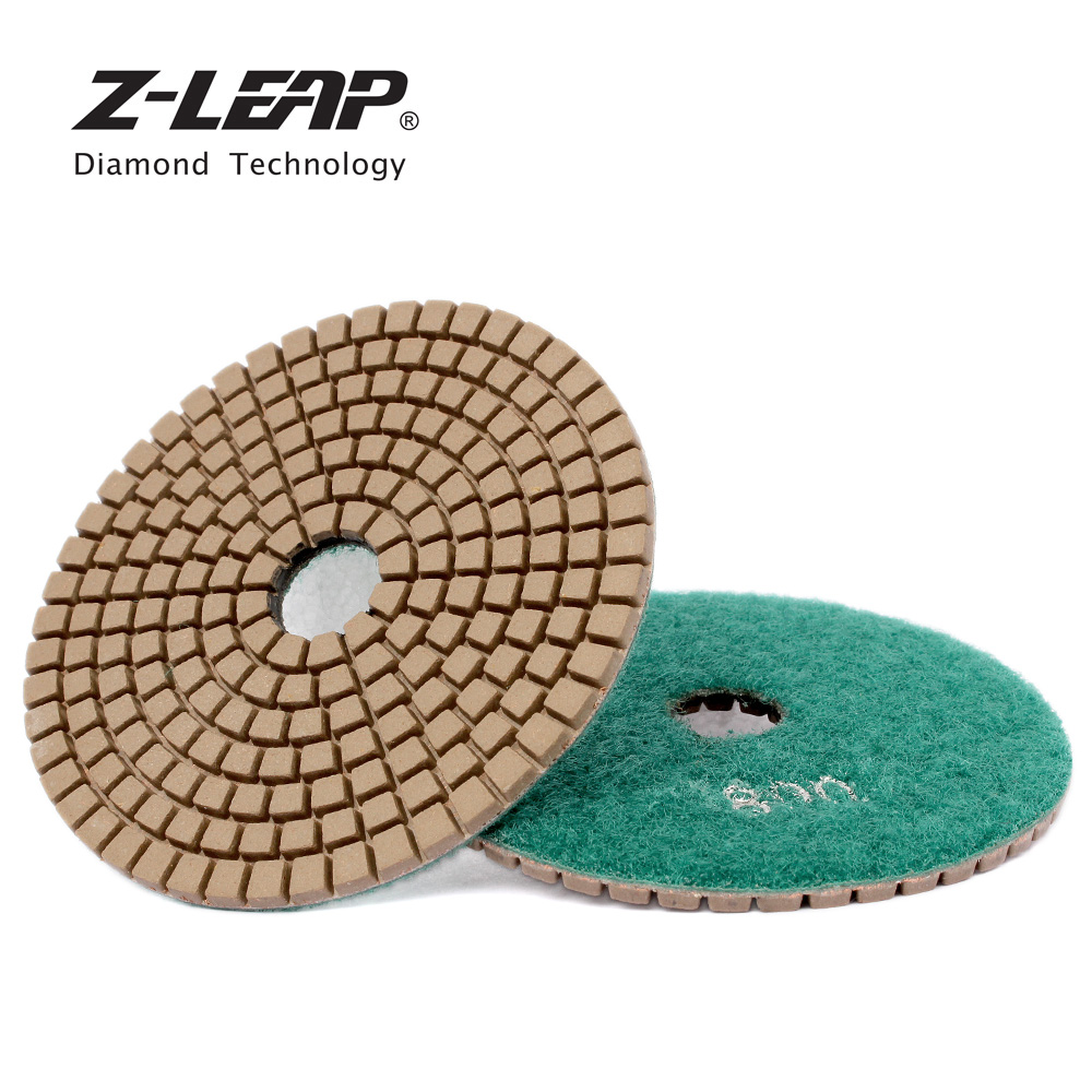 Z-LEAP 1 Piece Diamond Polishing Pad 4 Inch Wet Granite Stone Concrete Sanding Disc Marble Grinding Angle Grinder Pad