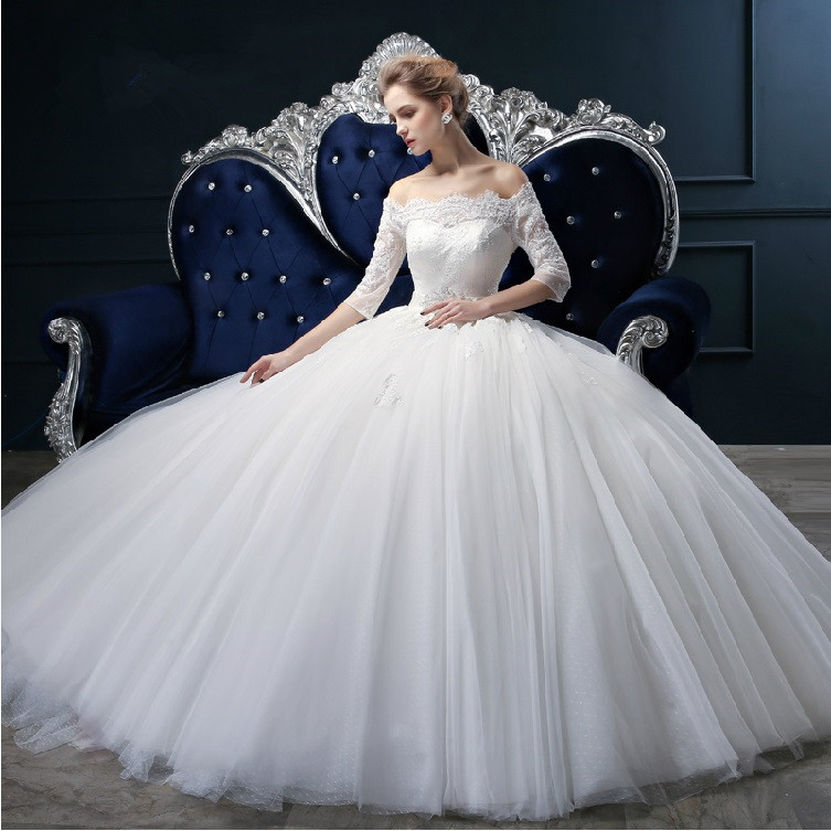 2015 Couture Ball Gown Elegant Wedding Dress Lace Tulle