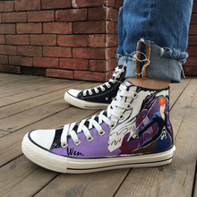 Wen Hand Painted Shoes Bleach Anime Man Woman's High Top Canvas Sneakers Birthday Christmas Gifts