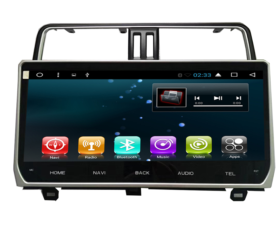 10.1 Quad core 1024*600 écran HD Android 6.0 Voiture GPS radio Navigation pour Toyota Prado 2018 avec 4G/Wifi, DVR OBD 1080 P