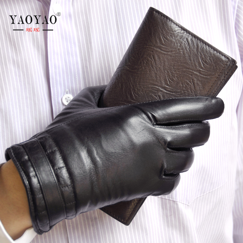 YY8133 Winter Man Casual Suede Genuine Leather Black Thick Warm Gloves Male Thermal Thick Velvet Simple Business Driving Luvas cute bear paw plush gloves winter warm thermal children knitted gloves full finger mittens cartoon gloves