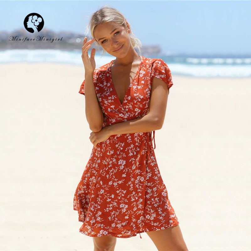 Red 2018 New Summer Dress Women Floral Print Deep V Neck Adjust Waist Casual Mini Vestidos Beach Party Dresses