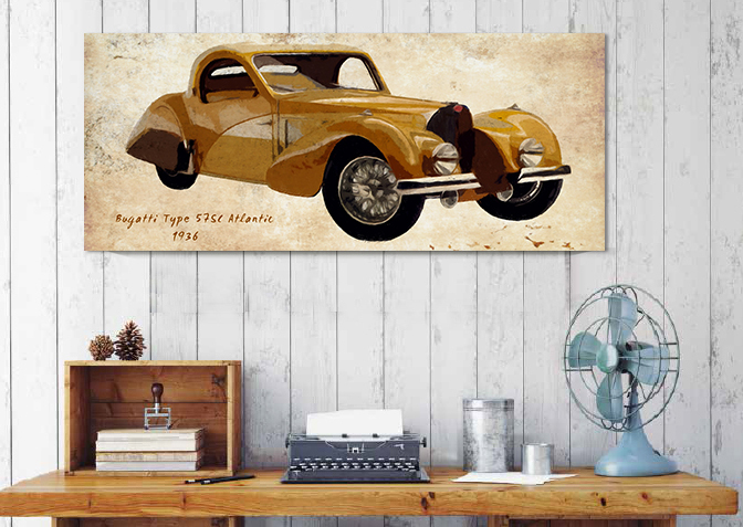 Vintage car naturals canvas painting wall art home decor for Automobile decorations home