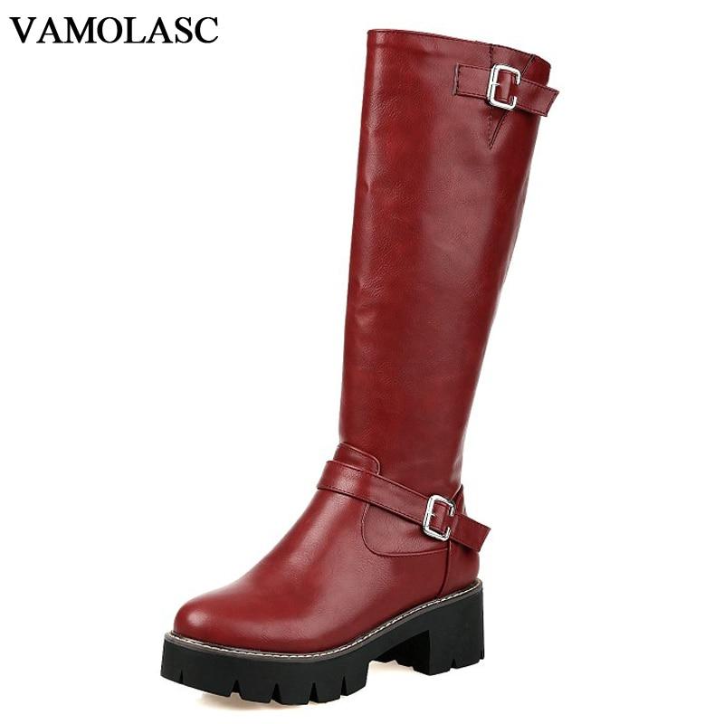 VAMOLASC New Women Autumn Winter Warm Leather Mid Calf Boots Zipper Square Med Heel Boots Platform Women Shoes Plus Size 34-43 double buckle cross straps mid calf boots